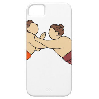 Rikishi Sumo Wrestler Pushing Side Mono Line iPhone 5 Covers