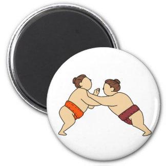 Rikishi Sumo Wrestler Pushing Side Mono Line Magnet