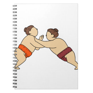 Rikishi Sumo Wrestler Pushing Side Mono Line Notebook