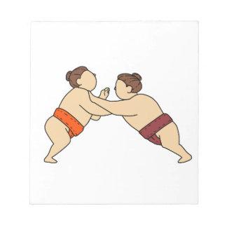 Rikishi Sumo Wrestler Pushing Side Mono Line Notepad