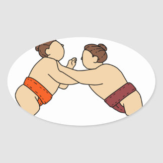 Rikishi Sumo Wrestler Pushing Side Mono Line Oval Sticker
