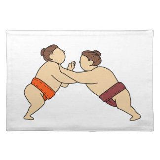 Rikishi Sumo Wrestler Pushing Side Mono Line Placemat