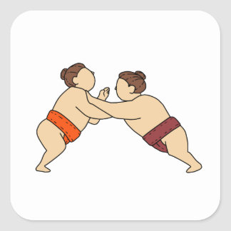 Rikishi Sumo Wrestler Pushing Side Mono Line Square Sticker