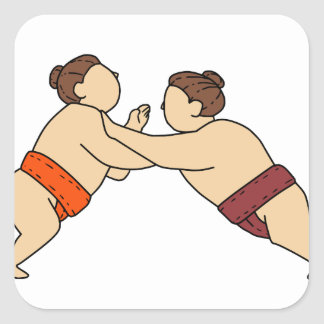 Rikishi Sumo Wrestler Pushing Side Mono Line Square Sticker
