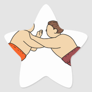 Rikishi Sumo Wrestler Pushing Side Mono Line Star Sticker