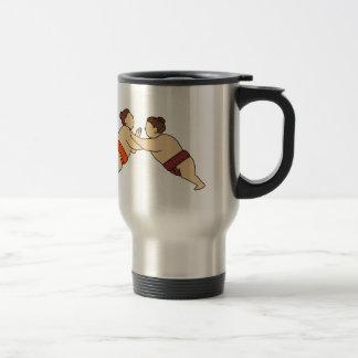 Rikishi Sumo Wrestler Pushing Side Mono Line Travel Mug