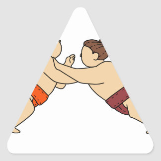 Rikishi Sumo Wrestler Pushing Side Mono Line Triangle Sticker