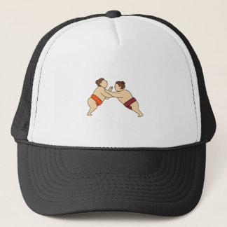 Rikishi Sumo Wrestler Pushing Side Mono Line Trucker Hat