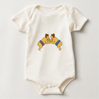 Rikishi Sumo Wrestlers Mono Line Baby Bodysuit