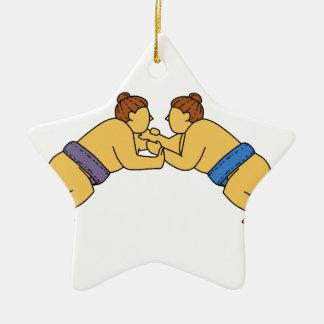 Rikishi Sumo Wrestlers Mono Line Ceramic Ornament