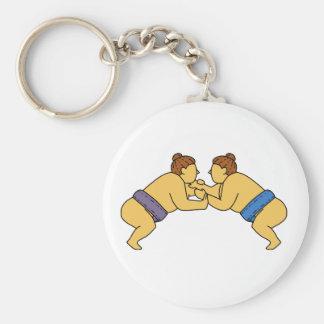 Rikishi Sumo Wrestlers Mono Line Keychain