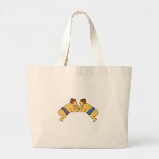 Rikishi Sumo Wrestlers Mono Line Large Tote Bag