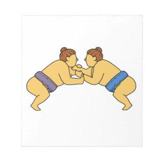 Rikishi Sumo Wrestlers Mono Line Notepad