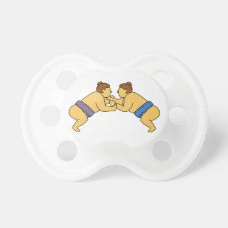 Rikishi Sumo Wrestlers Mono Line Pacifier