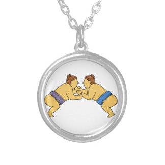 Rikishi Sumo Wrestlers Mono Line Silver Plated Necklace