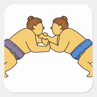 Rikishi Sumo Wrestlers Mono Line Square Sticker
