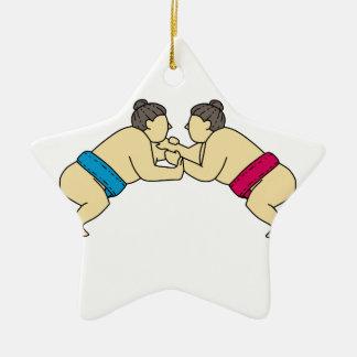 Rikishi Sumo Wrestlers Wrestling Side Mono Line Ceramic Ornament