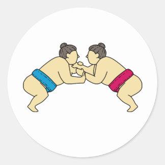 Rikishi Sumo Wrestlers Wrestling Side Mono Line Classic Round Sticker