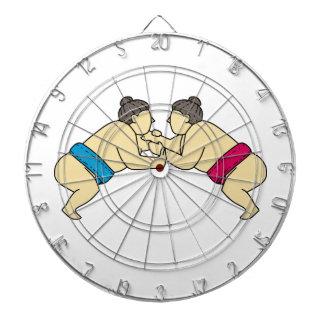Rikishi Sumo Wrestlers Wrestling Side Mono Line Dartboard