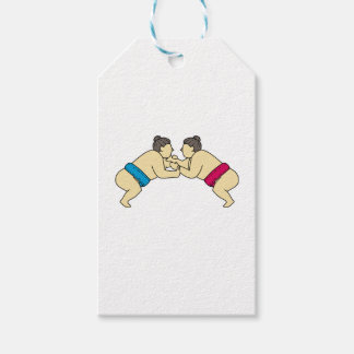 Rikishi Sumo Wrestlers Wrestling Side Mono Line Gift Tags