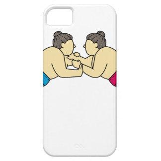 Rikishi Sumo Wrestlers Wrestling Side Mono Line iPhone 5 Case