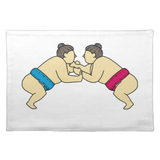 Rikishi Sumo Wrestlers Wrestling Side Mono Line Placemat