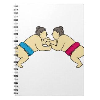 Rikishi Sumo Wrestlers Wrestling Side Mono Line Spiral Notebook