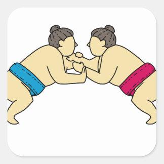 Rikishi Sumo Wrestlers Wrestling Side Mono Line Square Sticker