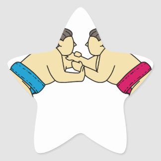 Rikishi Sumo Wrestlers Wrestling Side Mono Line Star Sticker