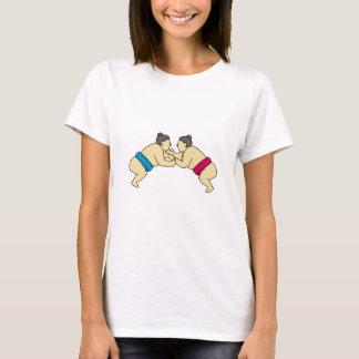 Rikishi Sumo Wrestlers Wrestling Side Mono Line T-Shirt