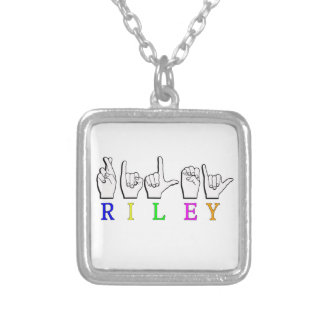 RILEY NAME SIGN FINGERSPELLED ASL SILVER PLATED NECKLACE