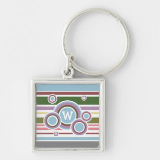 Riley Silver-Colored Square Keychain