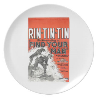 Rin-Tin-Tin vintage 1924 movie poster Party Plate