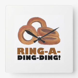 Ring-a-Ding-Ding Fried Onion Ring Funny Diner Food Square Wall Clock