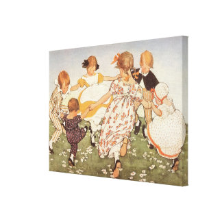 Ring A-Round a Rosie Stretched Canvas Print