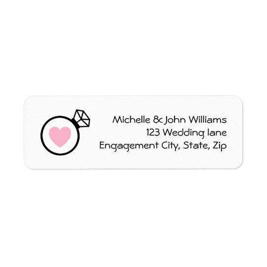 Ring and heart modern wedding return address label