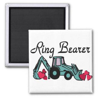 Ring Bearer Backhoe Square Magnet