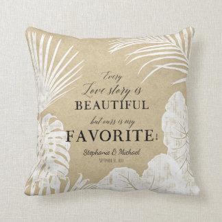 Ring Bearer Modern Simple Kraft Tropical Leaf Art Throw Pillow