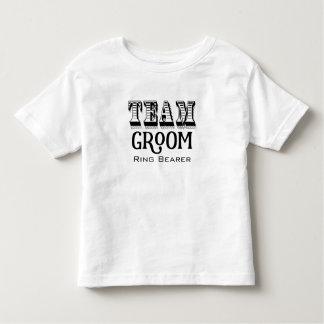 Ring Bearer Team Groom Hand Lettered Black Ink Tshirt