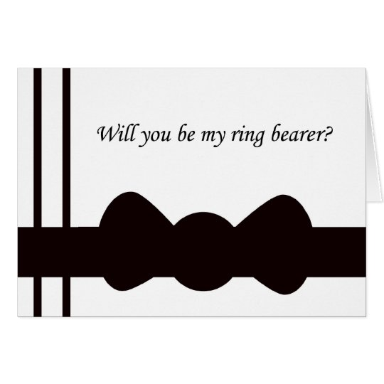 Ring Bearer Wedding Invitation Black Bow tie Card