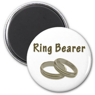 Ring Bearer With Golden Rings Refrigerator Magnets