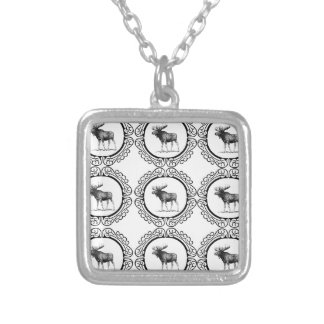 ring herd of moose silver plated necklace