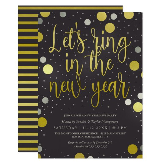 Ring in the New Year Glam New Year's Party Card