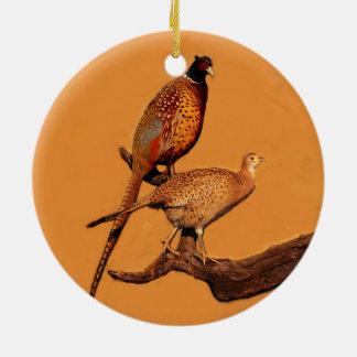 Ring-neck Pheasant Ceramic Ornament
