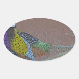 Ring Neck Pheasant Wild Bird Oval Sticker