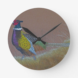 Ring Neck Pheasant Wild Bird Round Clock