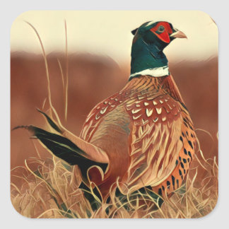 Ring-Necked Pheasant Square Sticker