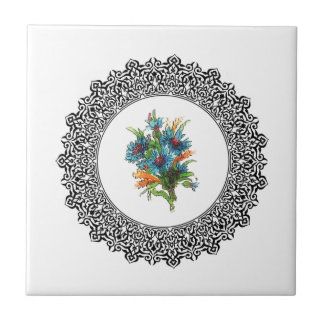 ring of blue flowers ceramic tiles