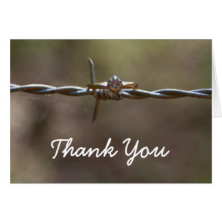Ring on barbed wire Thank You card