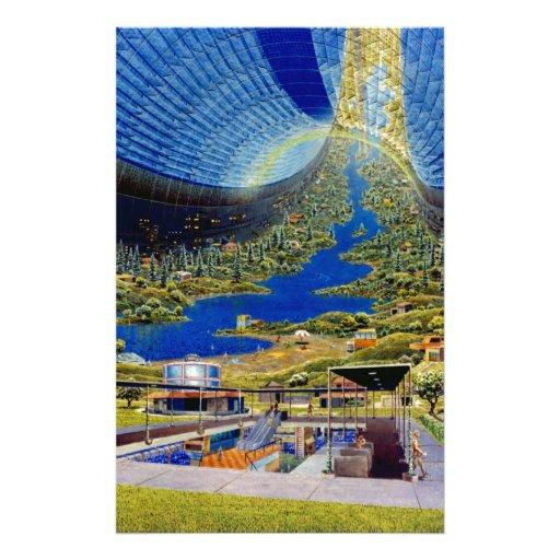Ring Space Station Interior Habitat Stationery Paper